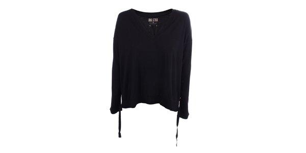 Dámske čierne tričko s véčkovým výstrihom Big Star