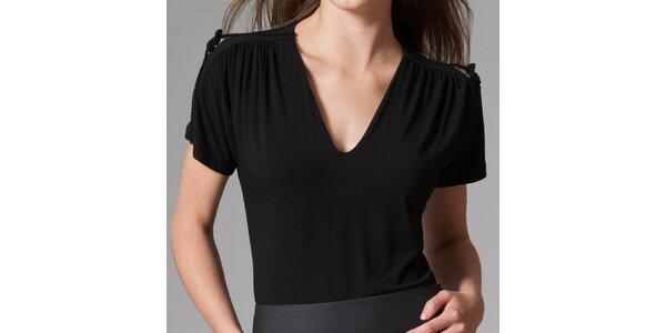 Dámske čierne tričko s véčkovým vzorom Pietro Filipi