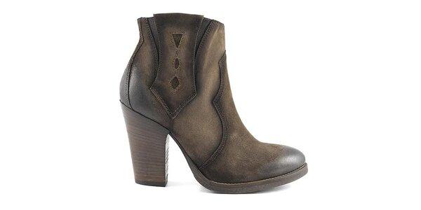Dámske hnedé topánky na opätku Café Noir
