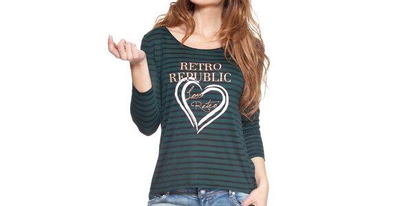 Dámske čierno-zeleno pruhované tričko s dlhým rukávom Peace&Love
