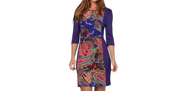 Dámske modro-fialové šaty s farebným vzorom Peace&Love