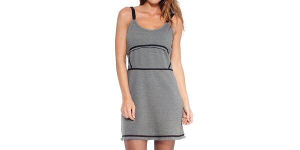 Dámske šedé šaty s čiernymi prvkami Peace&Love