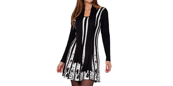 Dámske čierno-biele pruhované šaty Peace&Love