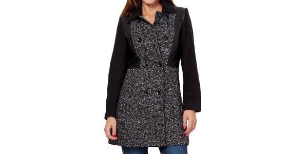 Dámsky čierno-biely dvojradový krátky kabát Peace&Love