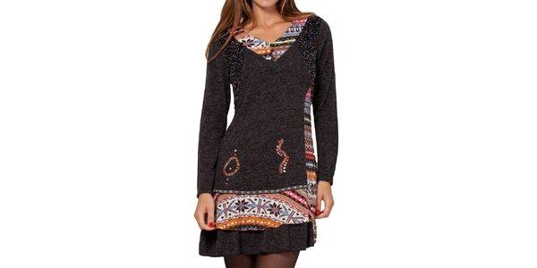 Dámske tmavo šedé šaty s farebným vzorom Peace&Love