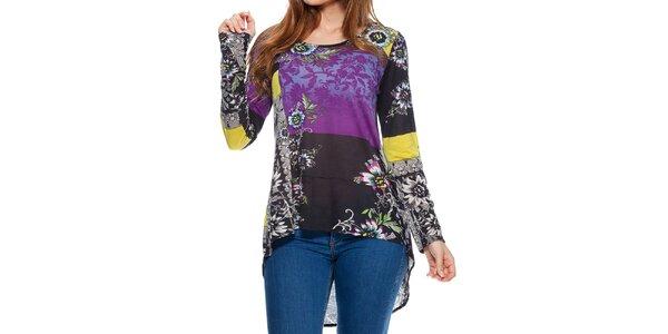 Dámske farebné tričko asymetrického strihu Peace&Love