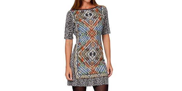 Dámske šaty s farebnou elegantnou potlačou Peace&Love