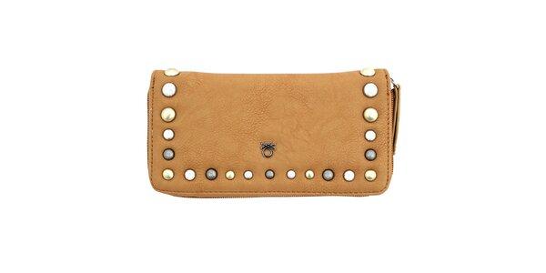 Dámska hnedá peňaženka s cvočkami United Colors of Benetton