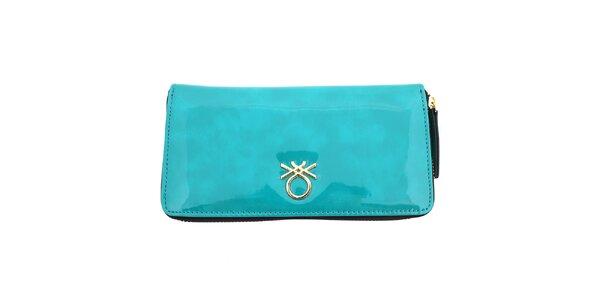 Dámska lesklá peňaženka United Colors of Benetton - tyrkysová