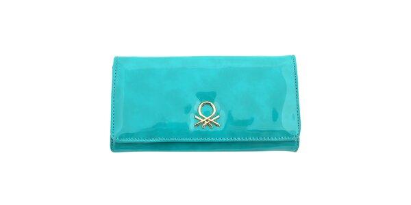 Dámska tyrkysová lesklá peňaženka United Colors of Benetton