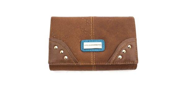 Dámska peňaženka s cvočkami United Colors of Benetton - hnedá