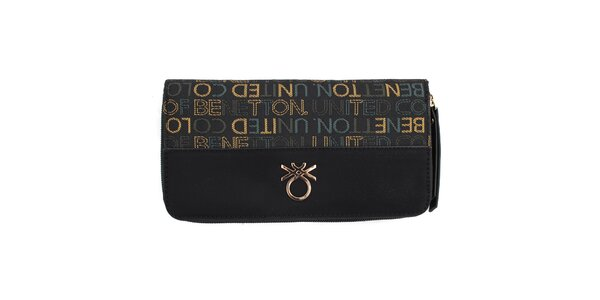 Dámska čierna peňaženka s farebnými nápismi United Colors of Benetton