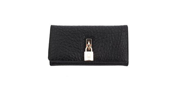 Dámska vzorovaná peňaženka so zámčekom United Colors of Benetton - čierna