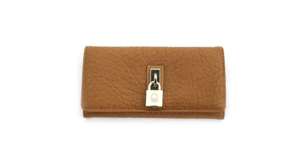 Dámska vzorovaná peňaženka so zámčekom United Colors of Benetton - hnedá