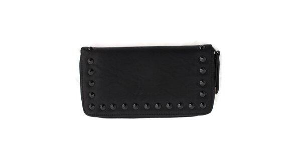 Dámska čierna peňaženka so zipsom a cvočkami United Colors of Benetton