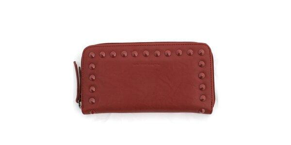 Dámska červená peňaženka so zipsom a cvočkami United Colors of Benetton