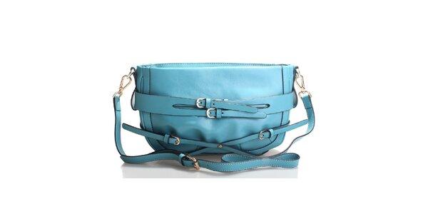 Azúrovo modrá kabelka cez rameno