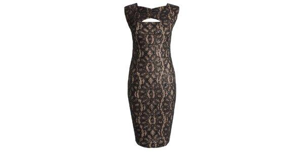 Dámske čierne šaty s prestrihom CeMe London