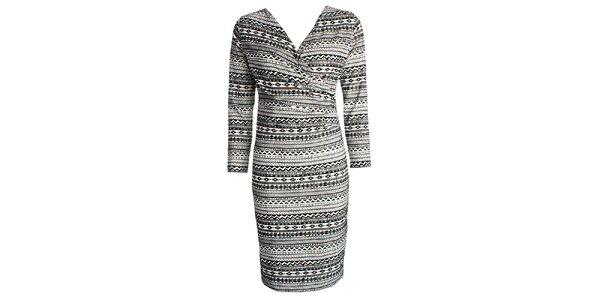 Dámske čierno-biele vzorované šaty CeMe London