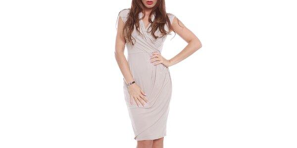 cfa934a5ad44 Dámske béžové šaty s krátkym rukávom Oriana