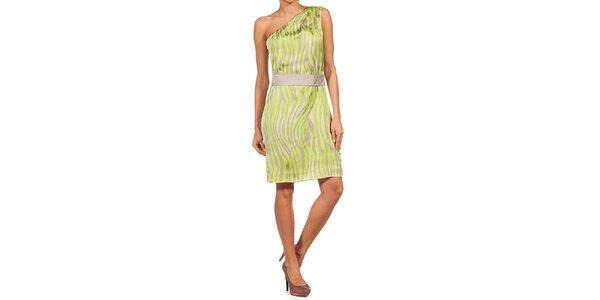 Dámske zebrové neónové šaty so spadnutým ramenom Guess by Marciano