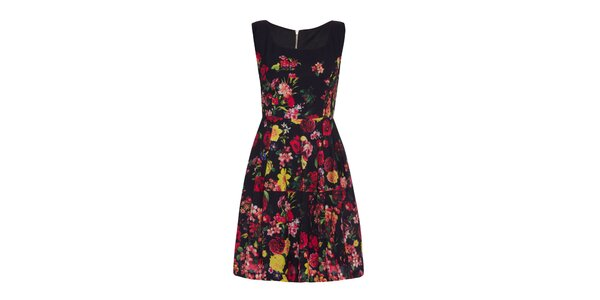 3d9d5cc17282 Dámske čierne šaty s farebnými kvetmi Yumi