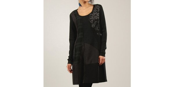 Dámske čierne šaty s kvetinovou dekoráciou Angels Never Die