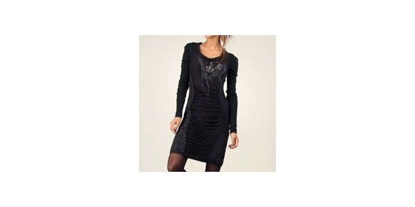 Dámske čierne šaty s výšivkami Angels Never Die