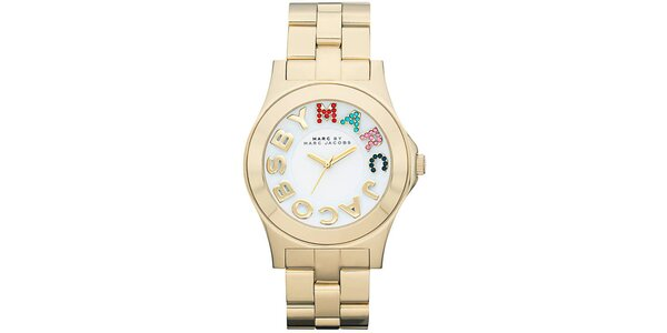 Dámske pozlátené analógové hodinky s farebnými kamienkami Marc Jacobs
