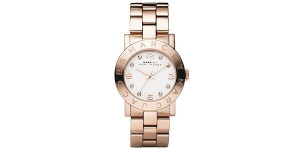 Dámske hodinky vo farbe ružového zlata s bielym ciferníkom Marc Jacobs
