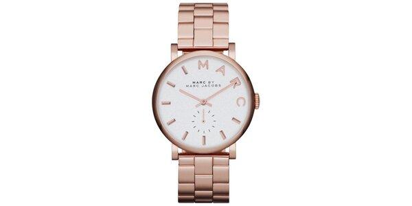 Dámske ružovo zlaté hodinky s okrúhlym púzdrom Marc Jacobs