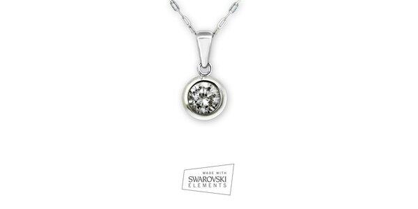 Dámsky náhrdelník s okrúhlym príveskom s kamienkom Swarovski Elements