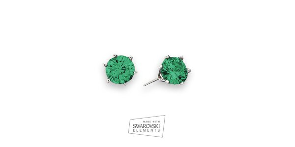 Dámske náušnice so zelenými kamienkami Swarovski Elements