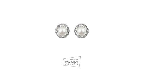Dámske okrúhle náušnice s perlou a kamienkami Swarovski Elements