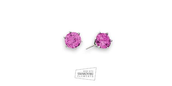 Dámske náušnice s ružovým kryštálom Swarovski Elements