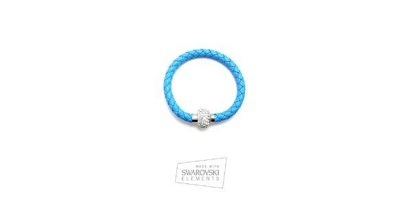 Dámsky modrý kožený náramok s kryštálikmi Swarovski Elements