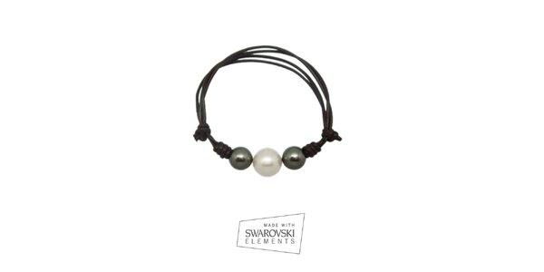 Dámsky kožený náramok so sivými perlami Swarovski Elements