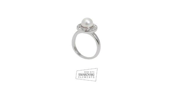 Dámsky prsteň s bielou perlou Swarovski Elements