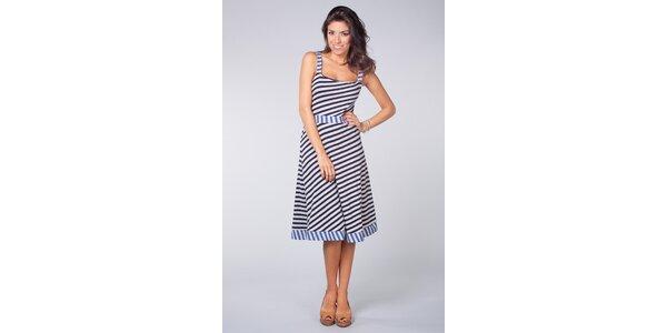 Dámske modro-biele námornícke šaty Blue Velvet