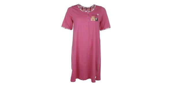 Dámska ružová nočná košeľa s mačičkami Body International