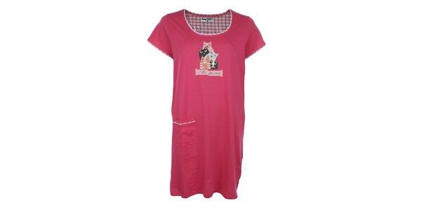 Dámska ružová nočná košeľa s mačkami a vreckom Body International