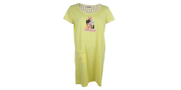 Dámska žltá nočná košeľa s mačkami a vreckom Body International