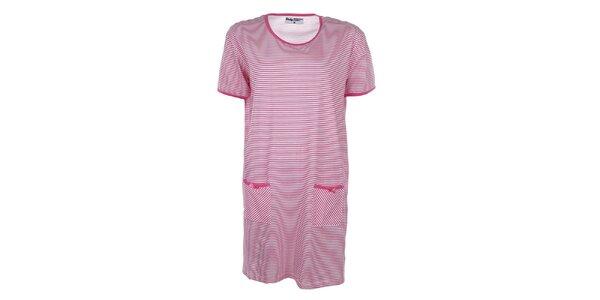 Dámska ružovo pruhovaná nočná košeľa Body International