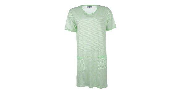 Dámska zeleno pruhovaná nočná košeľa Body International