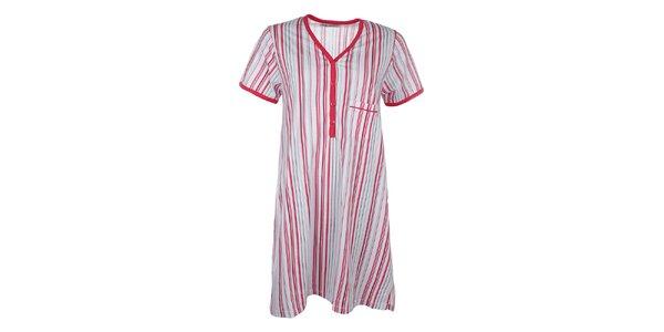 Dámska pruhovaná nočná košeľa s červenými prvkami Body International