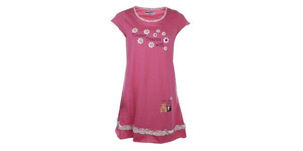 Dámska ružová nočná košeľa s potlačou a volánikom Body International