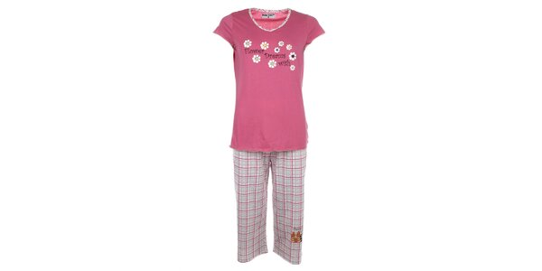 Dámske ružové pyžamo s kvietkami a kockovanými nohavicami Body International