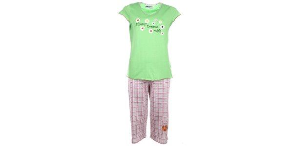 Dámske svetlo zelené pyžamo s kvietkami a kockovanými nohavicami Body…