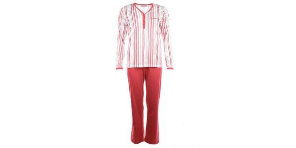 Dámske pruhované pyžamo s červenými nohavicami Body International