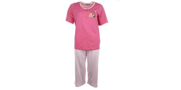 Dámske ružové pyžamo s bodkovanými nohavicami Body International